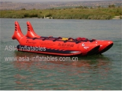 Double Tubes Inflatable Red Shark Ride